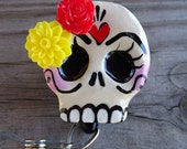 Sugar Skull Badge Reel swivel alligator badge reel clip
