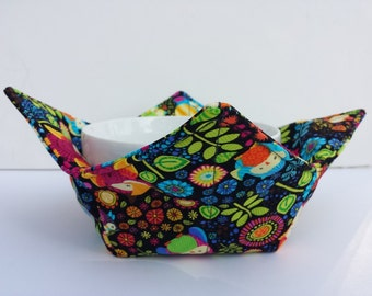 Owls, Microwave Bowl Cozy, Bowl Holder, Colorful Owls, Potholder, Hot or Cold, Hot Pad, All Cotton