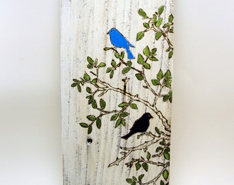 painting on wood birds tree pyrography