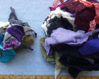 Cashmere Recycled Remnants  - Random Patterns Colors & Textures  - Mixed Tiny Bits - DIY Crafts and Projects - Choose Bundle Size