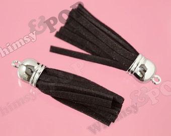 1 - Black Suede Tassel Findings, Silver Tone Tassels, 55mm - 65mm x 12mm (0-0)