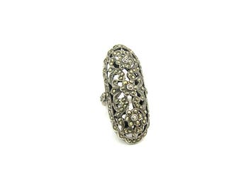 Large Art Deco Ring. Pierced Marcasite Cocktail Ring. Engraved, Sterling Silver Flowers. Vintage 1970s Art Deco Style Statement Jewelry