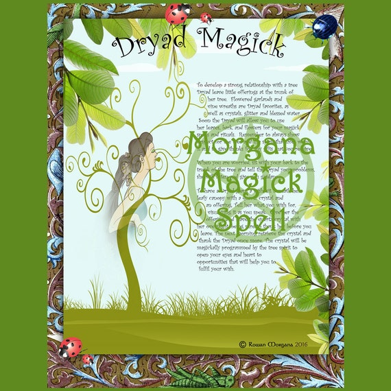DRYAD MAGICK Digital Download, Wishing Spell, Faerie, Wicca, BOS, Book of Shadows Page, Grimoire, Scrapbook, Spells