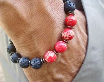 Men's Spiritual Strength, Fortune, Protection Bracelet with Semi Precious Red Imperial Jasper, Black Lava, Gunmetal - Bohemian Man - Fashion
