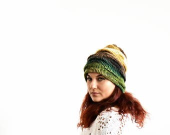 Winter wool slouchy beanie hat in green brown mustard and white with ruffle effect, handknit ombre winter slouchy hat for girl or a women