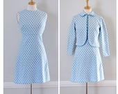 60s Blue And White Polyester Knit Dress With Matching Jacket