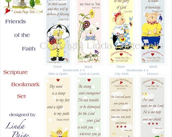 Scripture Bookmark Set -Linda Paige Tolis-Christian Party Favors-Children's Bible Verse Bookmarks