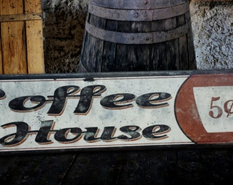 Custom Coffee House 5 cents Wood Sign - HandCrafted Antique Wooden Decor