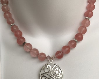Pink beads and silver pendant necklace and earring set