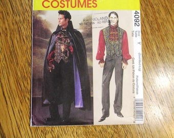 Men's VAMPIRE Costume - Cape, Vest, Poet Shirt, Ruffle Jabot - Size Small - Medium - Large - UNCUT Sewing Pattern McCalls 4092