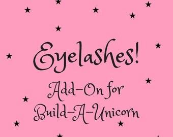 Eyelashes! Add-On for Build-A-Unicorn, Personalized, Customized Stuffed Unicorn Toy