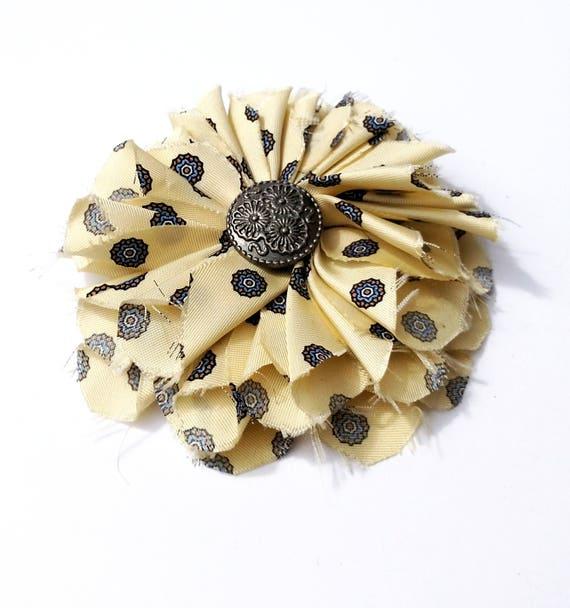Recycled Silk Necktie Flower Clip - Yellow