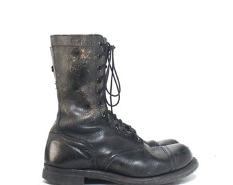 10.5 W | Vintage 1960's Cap Toe Jump Boots Black Military Combat Boots Dated 1961