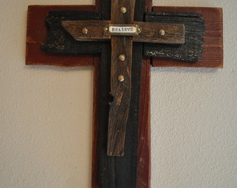 Unique cross Rustic red, black cross, -One of a kind reclaimed wood cross