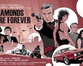 "James Bond 007 - Diamonds Are Forever  - 17 x 11"" Digital Print"