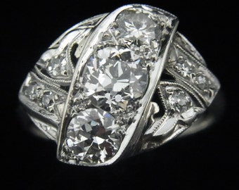 Art Deco 1.3ct Old Euro Cut Diamonds 14k White Gold Ring Engagement Antique