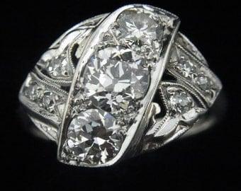 Art Deco 1.3ct Old Euro Cut Diamonds 14k White Gold Ring Engagement Antique