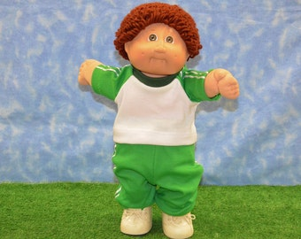 "Cabbage Patch Clothes - Handmade for 16"" - 18"" Boy Dolls - Kelly Green Sweats Outfit"