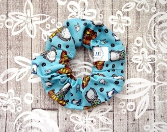 Totoro Scrunchie - Blue Anime Scrunchy / My Neighbor Totoro Fabric / Ghibli Hair Tie / Anime Large Cotton Srunchie / Geek Girl Gift