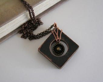 Copper Square Necklace Black Patina Pendant - Made with copper and a vintage button