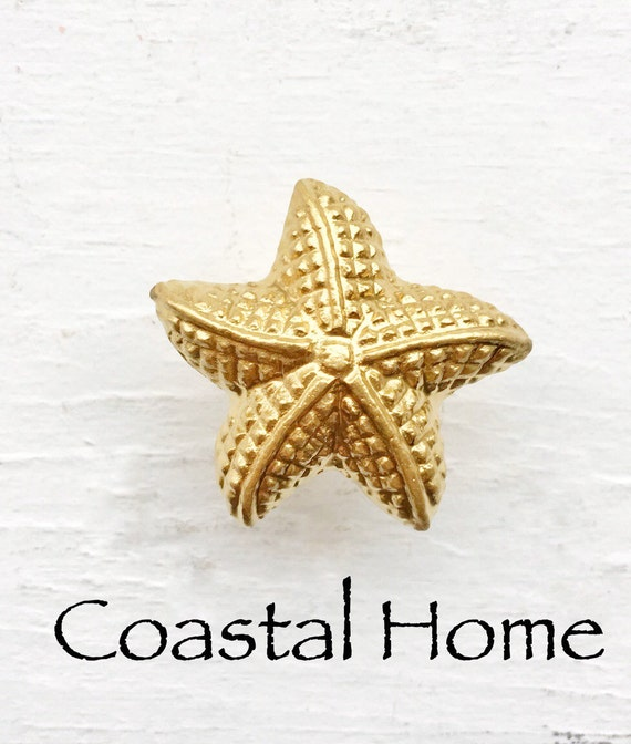 Gold Starfish Wall Decor : Gold knobs starfish decor costal beach