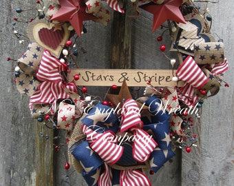 Americana Wreath, Patriotic Wreath, Memorial Day Wreath, Fourth of July Wreath, Americana Prim Wreath, Patriotic Country Cottage Wreath