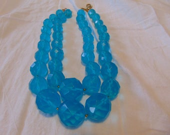 vintage FRAGMENTS faceted lucite beads turquoise blue opaque double strand necklace chunky huge