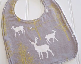 CLEARANCE/Baby Bib/Infant--18 mo./Timber Valley in Stone Metallic/Organic Fleece Back
