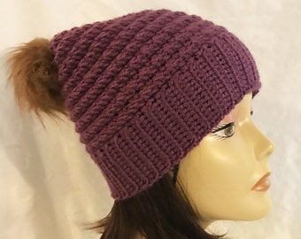 hat with faux fur pom pom,slouch,beanie,hat,hand crochet,made to fit teen and adults,purple with faux fur pom pom