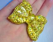 Gold Bow Ring - Kawaii, Sparkle, Statement, Glitter, Anime, Sweet Lolita, Cute, Fairy Kei, Oversized