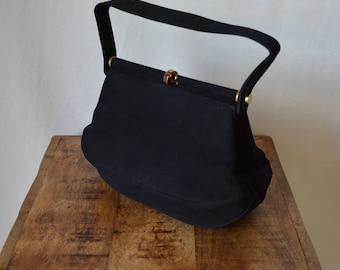 unique KORET vintage 50s black suede bag