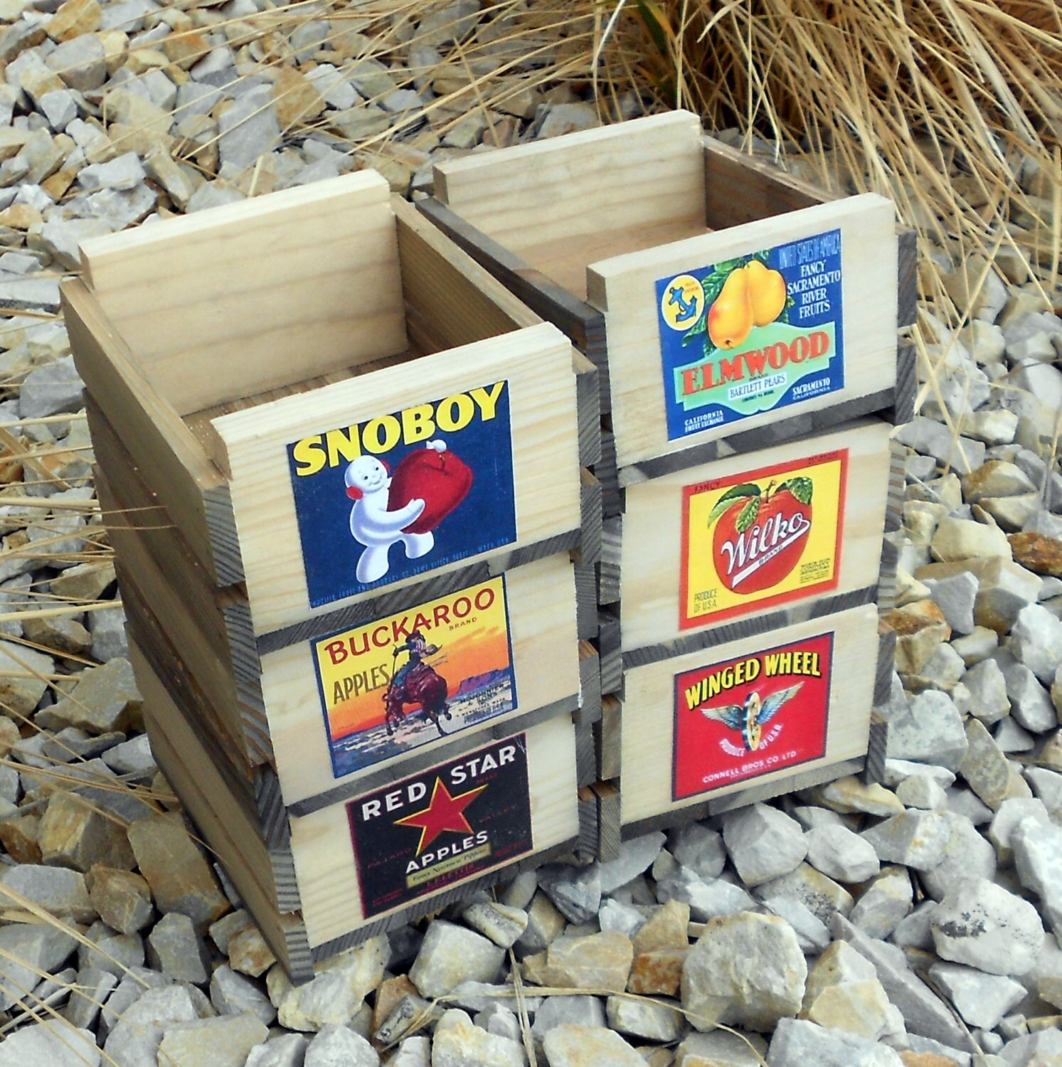 Set of six small rustic wooden fruit crates for Wooden fruit crates