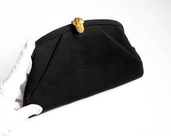 Vintage 1950s clutch . Pineapple Promise . black faille purse . 1950s envelope clutch purse with convertible chain strap