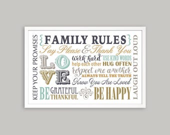 Family Rules, Family Rule sign, Family printable art, birthday gift print, family rules print, house rules sign, family pules poster 11x17