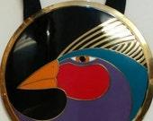 "Vintage Laurel Burch Large Round Pendant Cloisonne Enameled ""HARLEQUIN BIRD"" Necklace Gallery329"