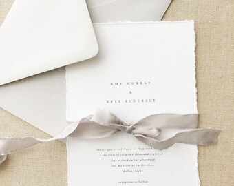 Wedding Invitation Sample - Amy | Simple Invitation | Gray Wedding Invitation | Grey Wedding Invitation | Deckled Edging | Torn Paper