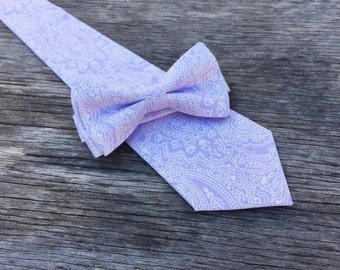 lavender paisley tie, lavender bow tie, lavender necktie, mens lavender tie, boys lavender bow, ties for men, mens purple tie, purple bowtie