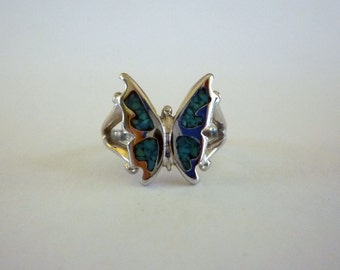 Small Turquoise Inlay Butterfly Ring, Size 4