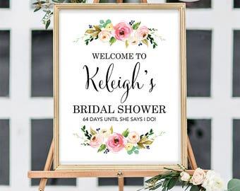 Bridal Shower Welcome Sign, Large Bridal Shower Welcome Sign, Welcome Bridal Shower Sign, Floral Bridal Shower Sign, Printed Bridal Shower