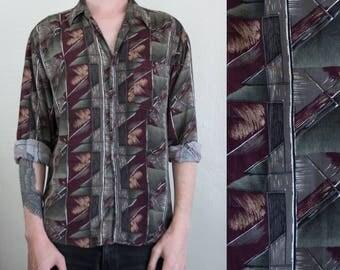 abstract rayon shirt - M