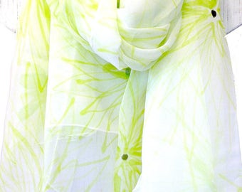 Hand Painted Silk Scarf, Silk Shawl, White Silk Scarf, Floral Silk Scarf, Chiffon Scarf, Chartreuse Green Chrysanthemums Scarf, 42x71 inches