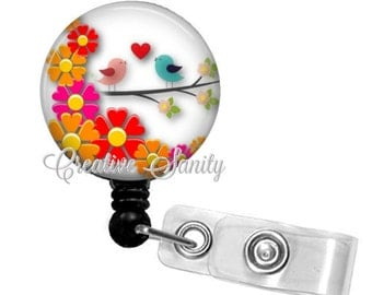 Retractable Badge Holder, Spring Love Birds, Choice of Badge Reel, Carabiner, Lanyard or Stethoscope ID Tag