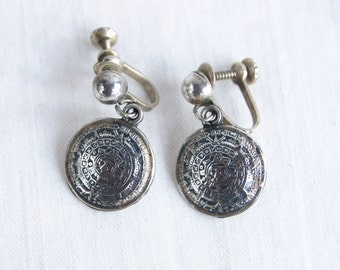 Aztec Mayan Calendar Earrings Vintage Mexican Screw Back Sterling Silver Dangles Round Drop Discs