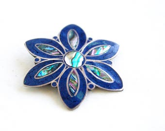 Mexican Brooch Pendant Abalone Lapis Blue Vintage Alpaca Jewelry Daisy Rosette Pin Necklace Finding