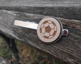 Soccer Ball Tie Clip. Laser Engraved. Wedding, Men's, Groomsmen Gift, Dad, Groom, Anniversary, Birthday, Father's Day. Tie Bar.