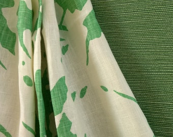 LuLu dk Shine  is a fun cottage print in Spring green.  Window size  = 38w x 83L  lined pleated  pair of panels .