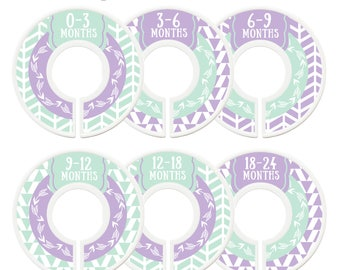 Closet Dividers, Assembled, Baby Closet Dividers, Closet Organizer, Girl, Mint, Lavender, Tribal, Woodland, Arrows, Baby Gift, Nursery