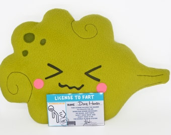 Fart pillow + laminated License to Fart - personalised with your name - handmade kawaii plush cushion