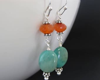 Sterling Silver Turquoise & Carnelian Gemstone Earrings / Blue and Orange Dangle Earrings / Gifts for Her / Summer Jewelry Trends