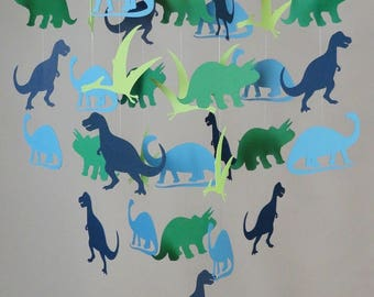 Dinosaurs Baby Mobile in Blue and Green